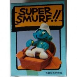 4.0219 40219 Schleich Peyo Super Smurf Puffo con barca a remi 1981