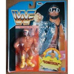 WWF personaggio Wrestling Macho Man Randy Savage con gomitata 1990
