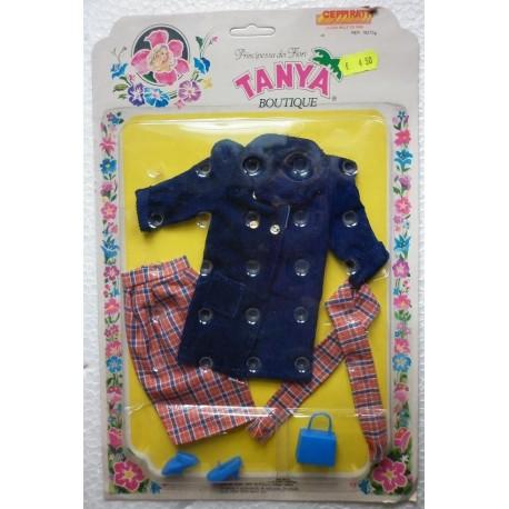 Completo blu e scozzese per bambola Tanya principessa dei fiori