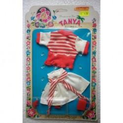 Completo bianco e rosso per bambola Tanya